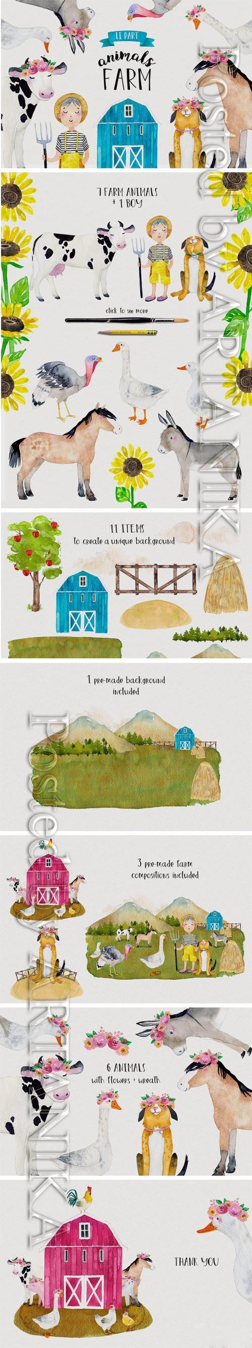 CM - FARM ANIMALS Watercolor Set PART 2 2334897
