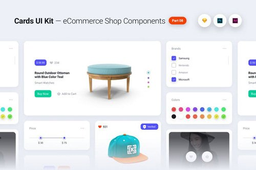 Cards UI Kit - eCommerce Shop Widgets Components Part 08 - White