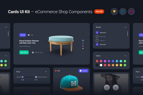 Cards UI Kit - eCommerce Shop Widgets & Components Part 08 - Black