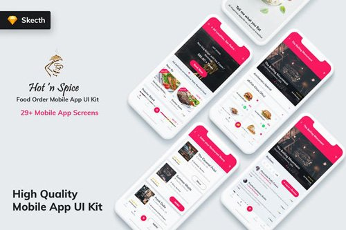 Hot & Spice - Food Order MobileApp UI Kit (Sketch)