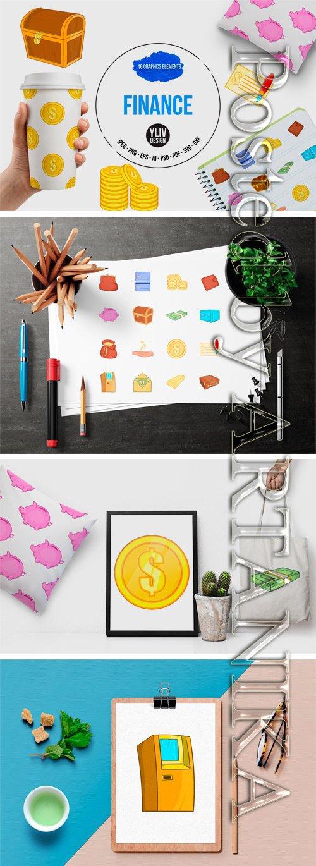 Designbundles - Finance Icons Set, Cartoon Style 94558