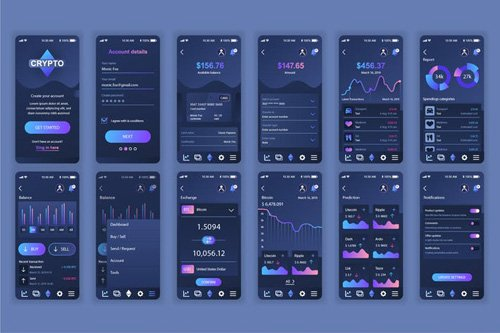 Cryptocurrency Mobile App UX and UI Kit