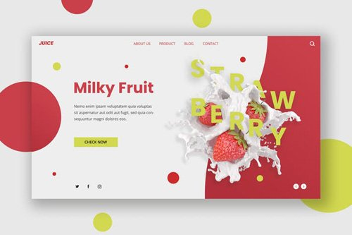 Milk Fruit Hero Header Template