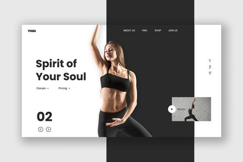 Female Fitness Hero Header Template