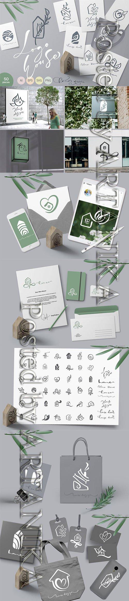 Hand drawn Logo House Vector elements SVG
