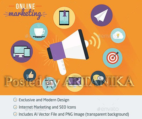 GraphicRiver - Online Marketing and SEO Flat Icons 11892148