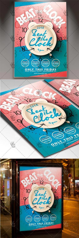 Beat The Clock – Club Flyer PSD Template