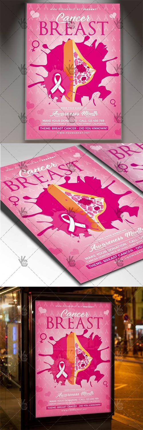 Breast Cancer – Charity Flyer PSD Template