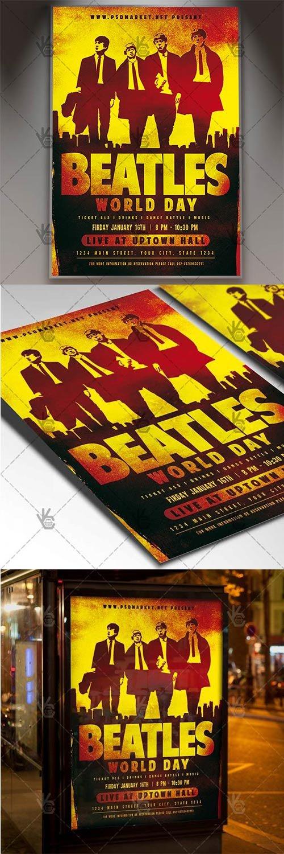 Beatles World Day – Club Flyer PSD Template