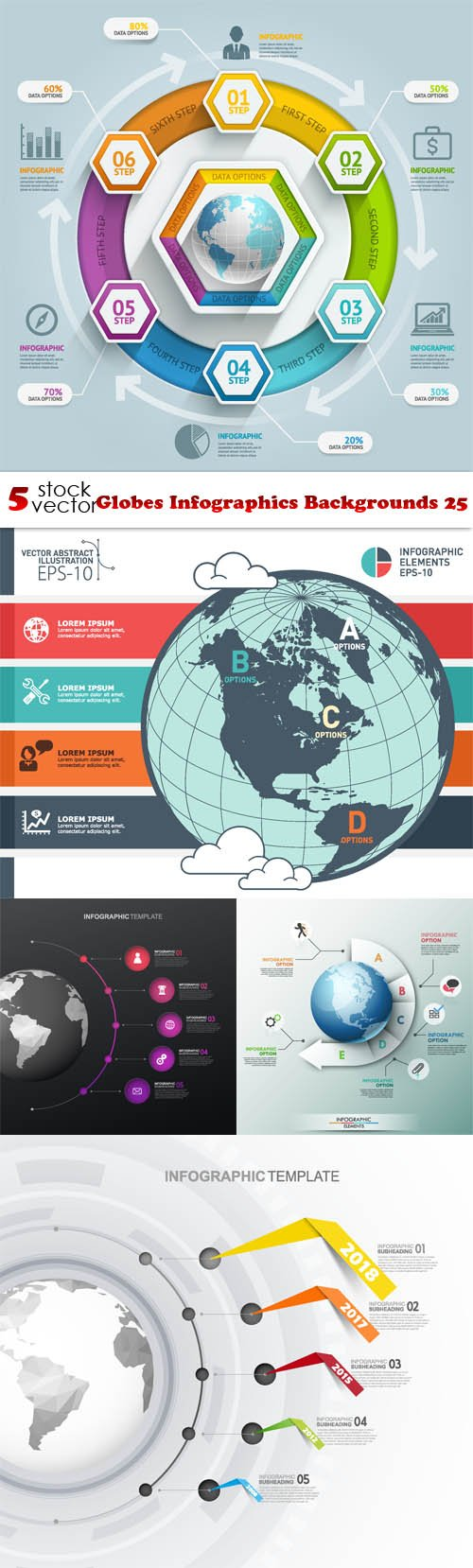Vectors - Globes Infographics Backgrounds 25
