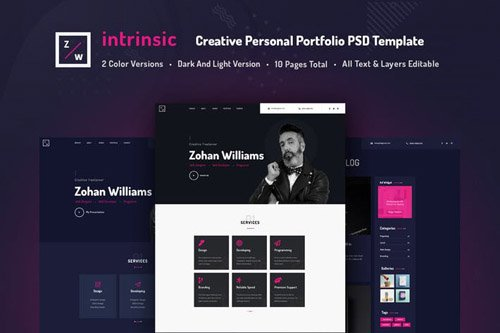 Intrinsic - Creative Personal Portfolio PSD Template