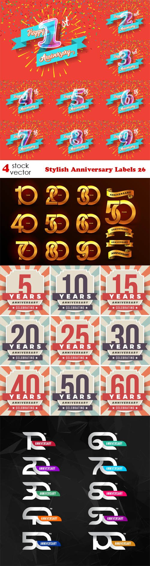 Vectors - Stylish Anniversary Labels 26