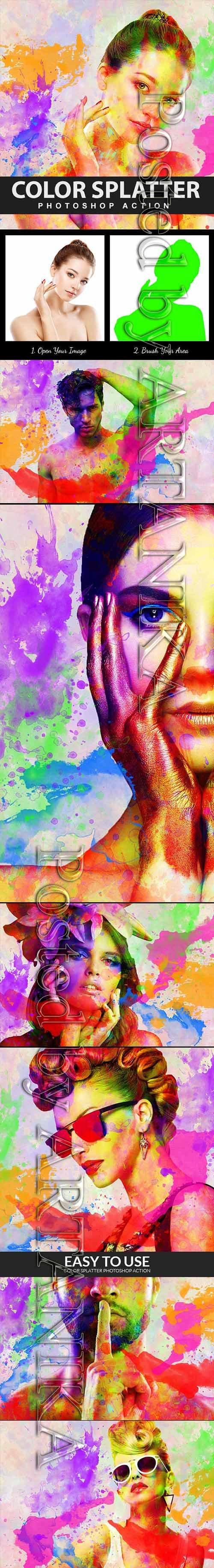 Graphicriver - Color Splatter Photoshop Action 21285947