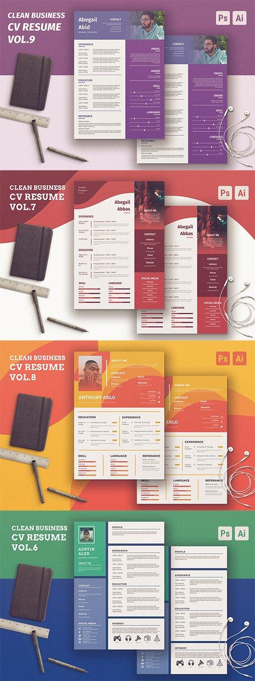 Clean Resume Vol.6-9 PSD