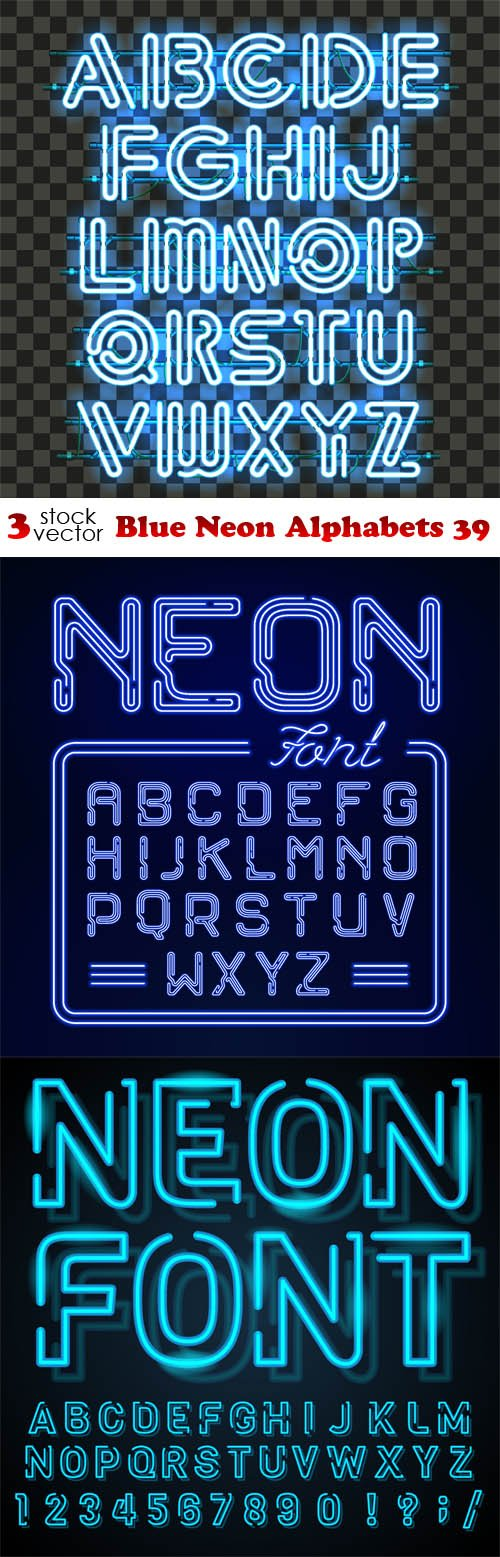 Vectors - Blue Neon Alphabets 39