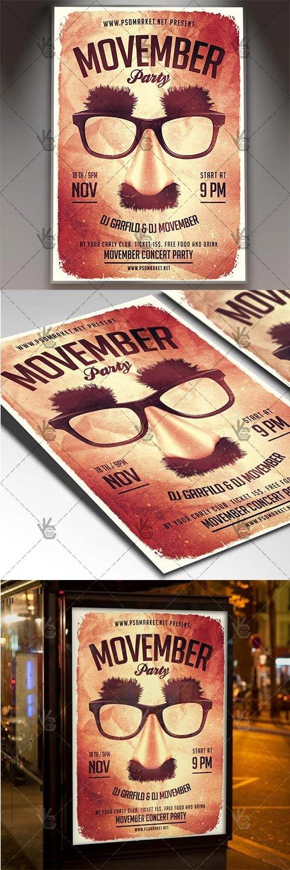 Movember Party Night – Seasonal Flyer PSD Template