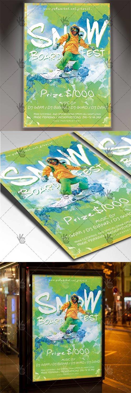 Snowboard Fest – Sport Flyer PSD Template