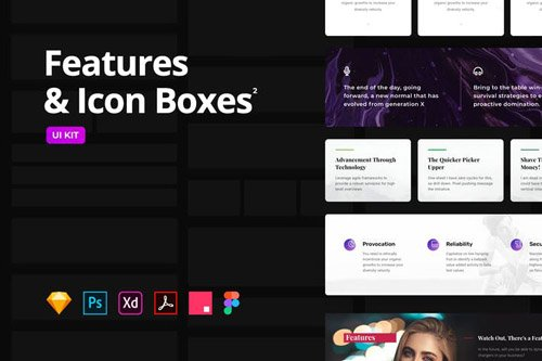 Features & Icon Boxes Set 2 - Multi-Format UI KIT