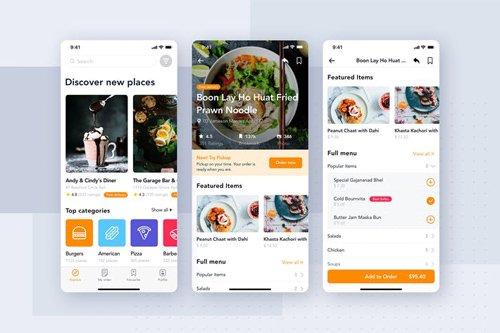 Food Delivery App UI Kit for ADOBE XD