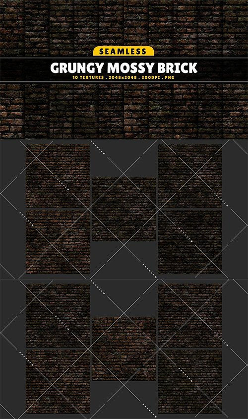 Texture Pack Seamless Grungy Mossy Brick Vol 01 Texture