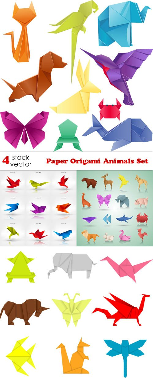 Vectors - Paper Origami Animals Set