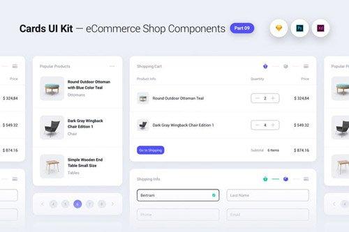 Cards UI Kit - eCommerce Shop Widgets & Components Part 09 - White