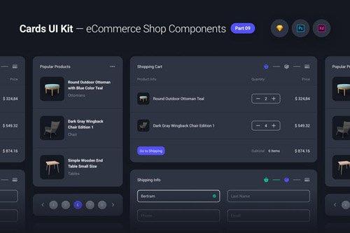 Cards UI Kit - eCommerce Shop Widgets & Components Part 09 - Black