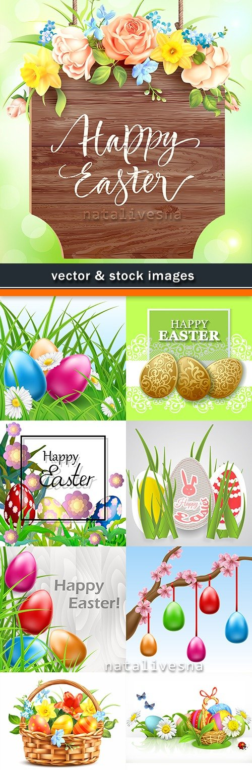 Happy Easter decorative illustration design elements 9