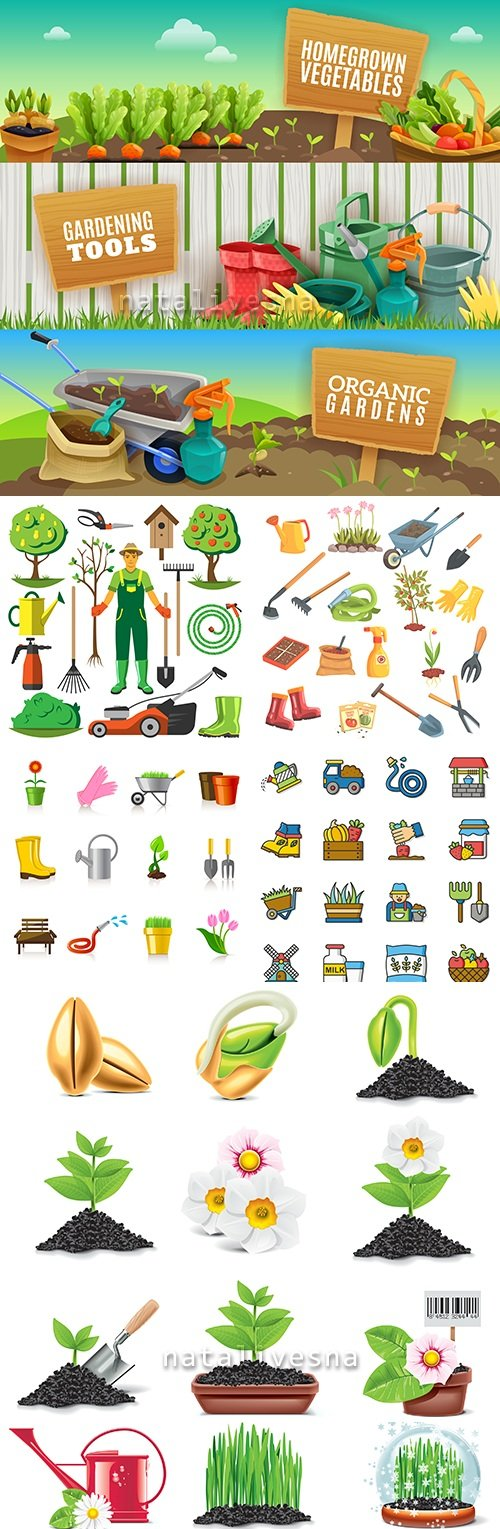 Gardening of the environment garden tools and seedling