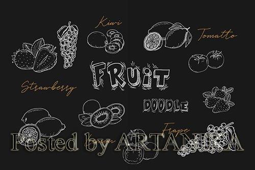 Tropical Fruit Handrawn Doodle