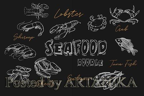 Seafood Handrawn Doodle