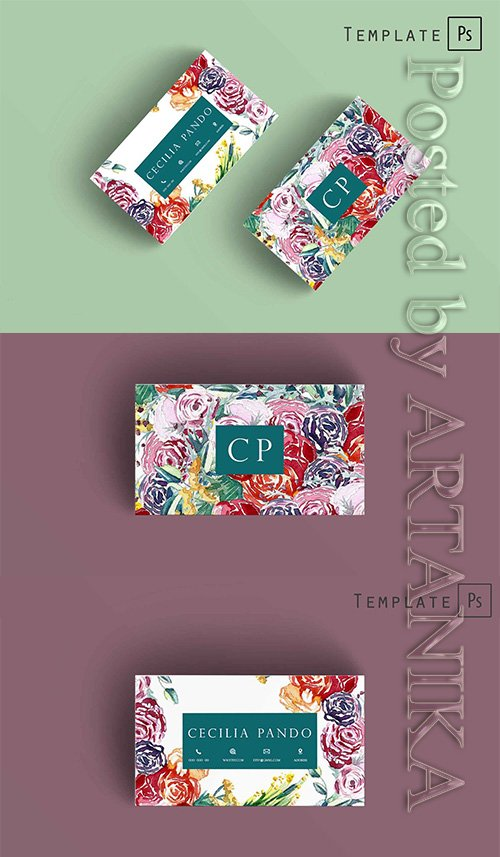 CreativeMarket - Watercolor flowers business card 2265998