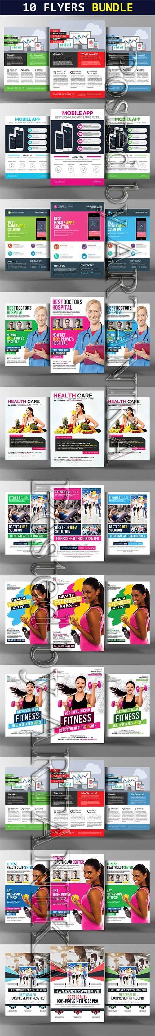 CreativeMarket - 10 Flat Design Corporate Flyers 2247230