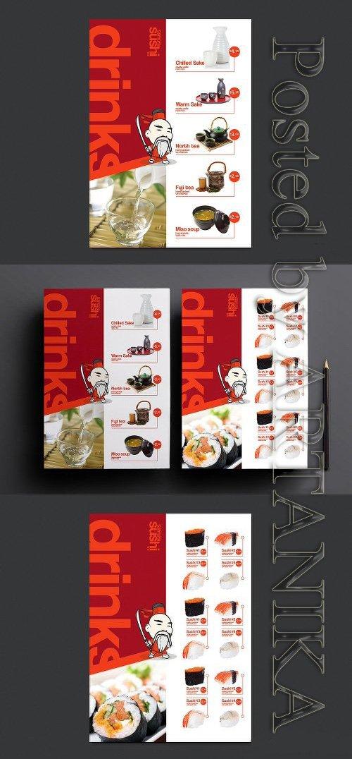 CreativeMarket - A4 Sushi Menu Template 946785