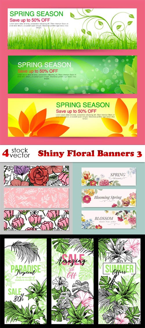 Vectors - Shiny Floral Banners 3