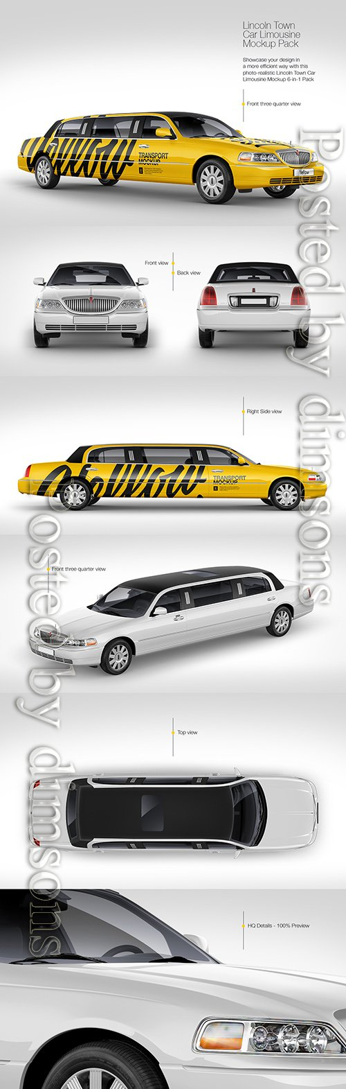 Lincoln Town Car Limousine Mockup Pack TIF