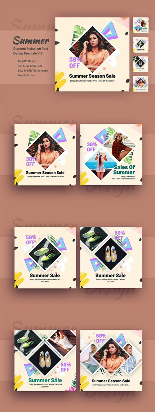 Summer Discount Instagram Post Design Template V-5