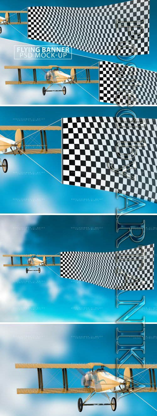 Flying Banner PSD Mock-up