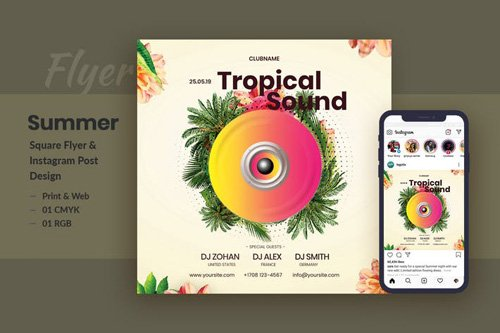Tropical Sound Flyer & Instagram Post Template