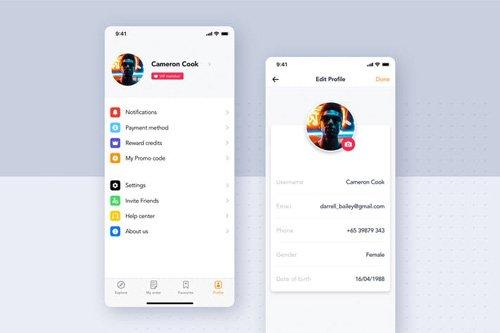 Food Delivery UI Kit - Profile screen - N6KP7Y9