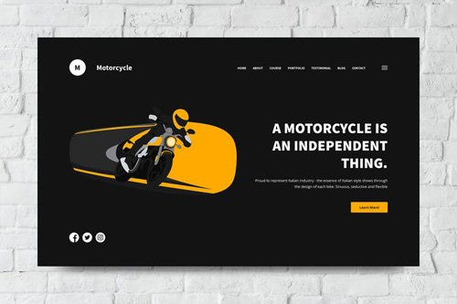 Motorcycle Web Header PSD and Vector Template
