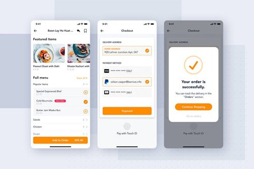 Checkout & Payment app screen for Food - 95Z3GF4