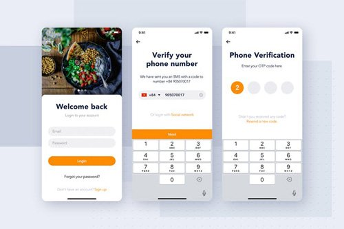 Login authentication app screen for Food - DBGFKEJ