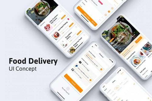 Restaurant and Food Mobile UI kit for Sketch - DXJFSEW