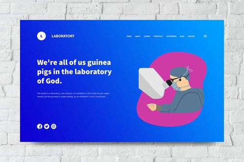 Laboratory Web Header PSD and Vector Template