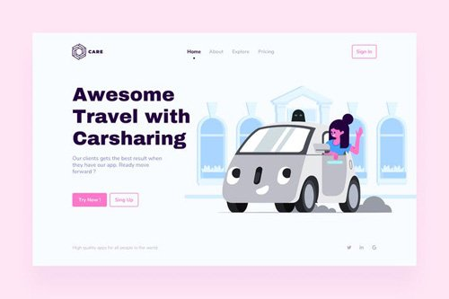 Carsharing Landing Page Illustrations