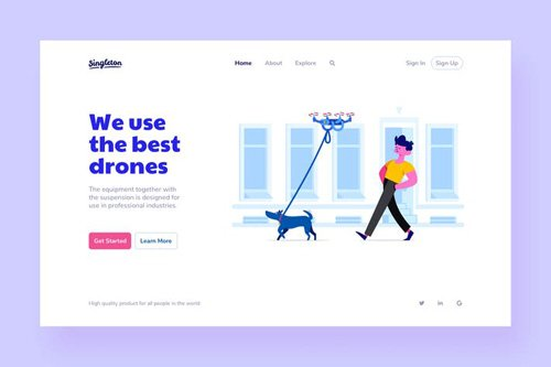 Drones Landing Page Illustrations