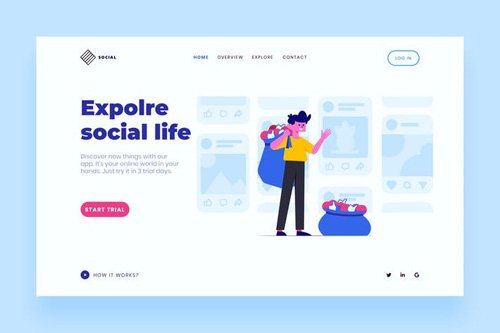 Social Landing Page Illustration