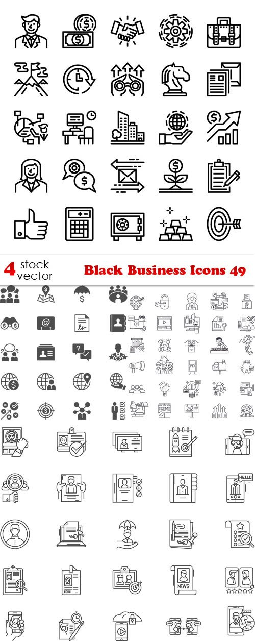 Vectors - Black Business Icons 49