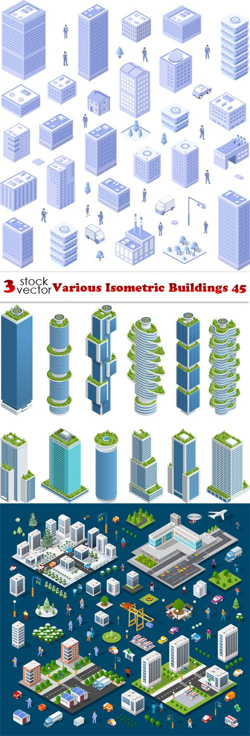 Vectors - Various Isometric Buildings 45